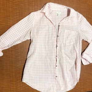 Pink And white gingham J.Crew button up